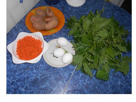 крапива, яйца,картофель морковь